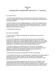 Satzung der Gesellschaft für volkstümliche Astronomie e. V. Hamburg