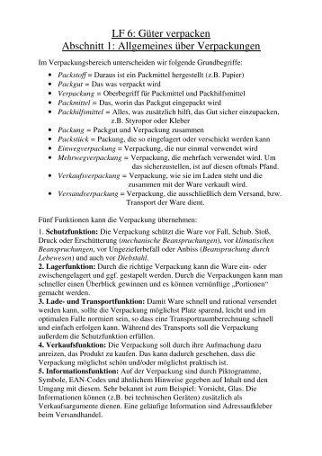 LF 6: Güter verpacken Abschnitt 1: Allgemeines über Verpackungen