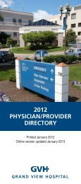 2012 PHYSICIAN/PROVIDER DIRECTORY - Grand View Hospital