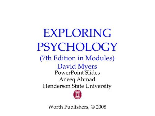 Amazon. Com: exploring psychology in modules seventh edition.