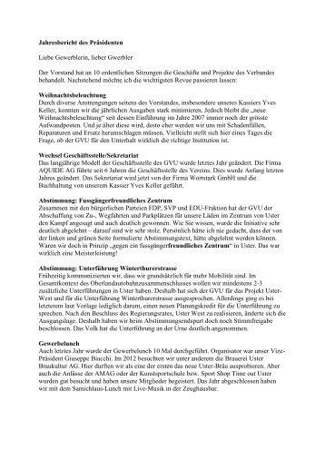 Jahresbericht des Präsidenten 2012