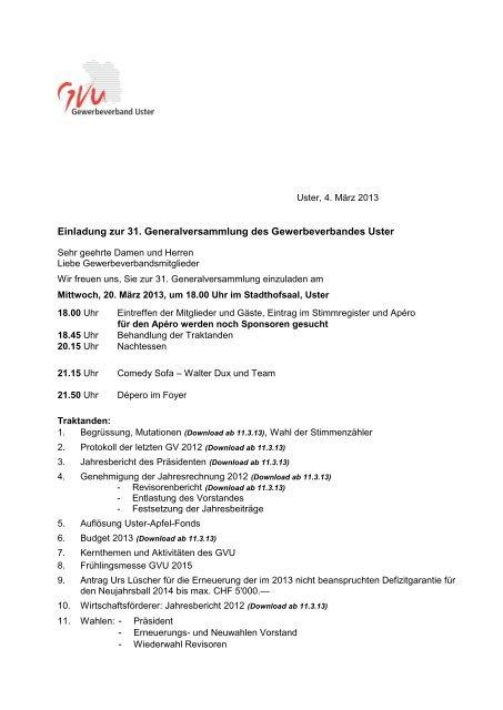 Einladung zur 31. ordentlichen Generalversammlung