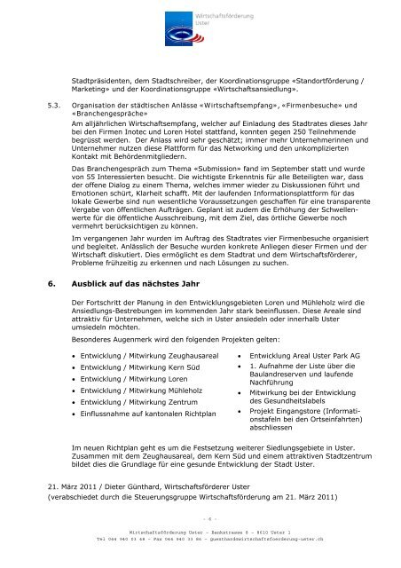 Jahresbericht des Wirtschaftsförderers für das Jahr 2010