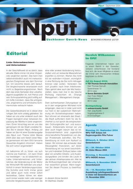 iNPUT September 2004 - Gewerbeverband Uster