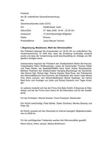 Protokoll der 26. ordentlichen Generalversammlung des ...