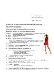 Einladung zur 30. Generalversammlung des Gewerbeverbandes Uster