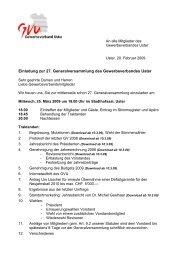 Einladung zur 27. Generalversammlung des Gewerbeverbandes Uster
