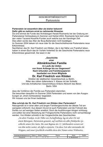 Dr. Karl Friedrich von Klöden - Geschichtswerkstatt Partenstein