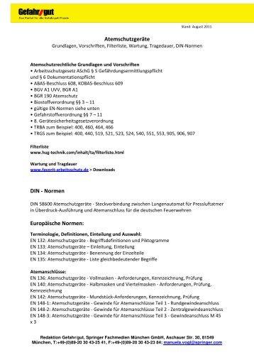 Atemschutzgeräte DIN - Normen Europäische Normen: