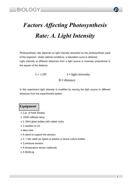 how light intensity affects the rate of photosynthesis