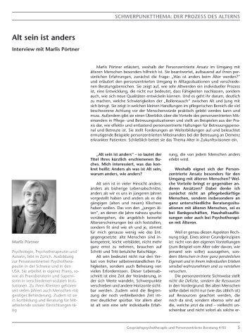 Interview mit Marlis Pörtner: Alt sein ist anders (PDF 122KB) - GwG