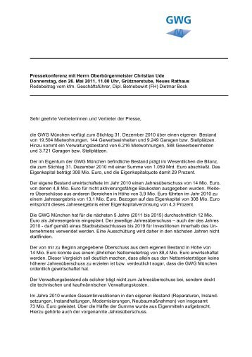 Pressekonferenz mit Herrn Oberbürgermeister ... - GWG München