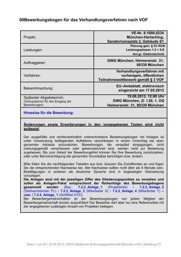 Bewerbungsbogen für das VOF-Verfahren - GWG München