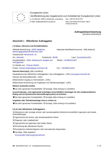 Auftragsbekanntmachung - Leistungen der ... - GWG München