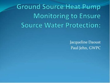 Ground Source Heat Pump Monitoring to Ensure Source Water ...