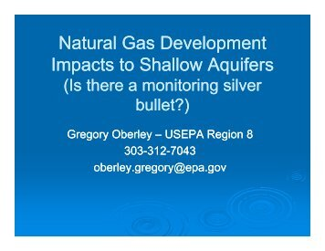 Natural Gas Development Natural Gas Development Impacts to ...