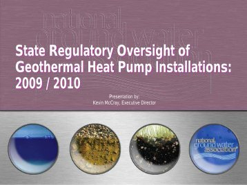 State Regulatory Oversight of Geothermal Heat Pump Installations ...