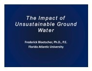 The Impact of Unsustainable Ground Water