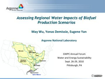 Assessing Regional Water Impacts of Biofuel Production Scenarios