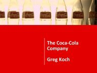 The Coca-Cola Company Greg Koch - Groundwater Protection ...