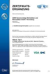 Zertifikat VDA 6.1 Herrenberg - GWW
