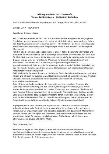 Schlussgottesdienst 2011- Unterstufe Thema: Der Regenbogen ...