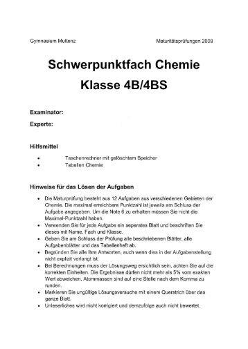 Schwerpunktfach Chemie Klasse 4BI4BS - Gymnasium Muttenz