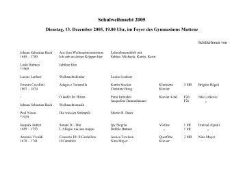 Schulweihnacht 2005 - Gymnasium Muttenz