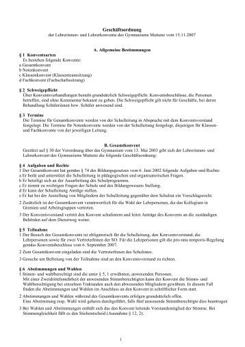 Geschäftsordnung - Gymnasium Muttenz