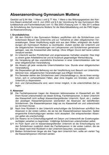 Absenzenordnung Gymnasium Muttenz