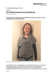 Eine Weltverbesserinaus Seltisberg - Gymnasium Liestal