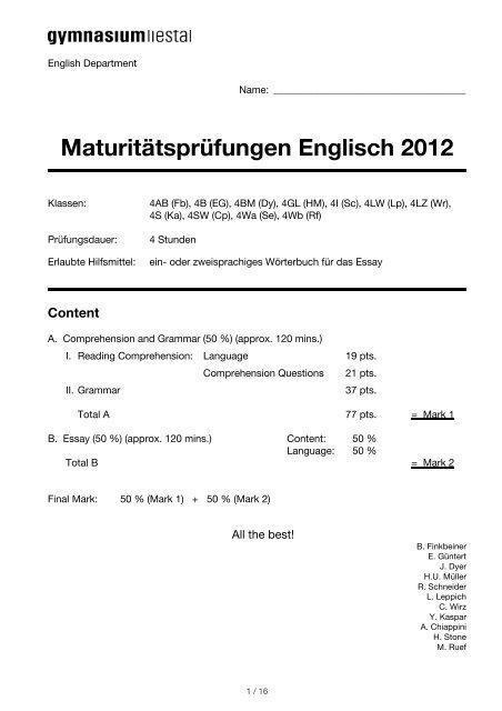 English Matura 2012_v3.2 - Gymnasium Liestal