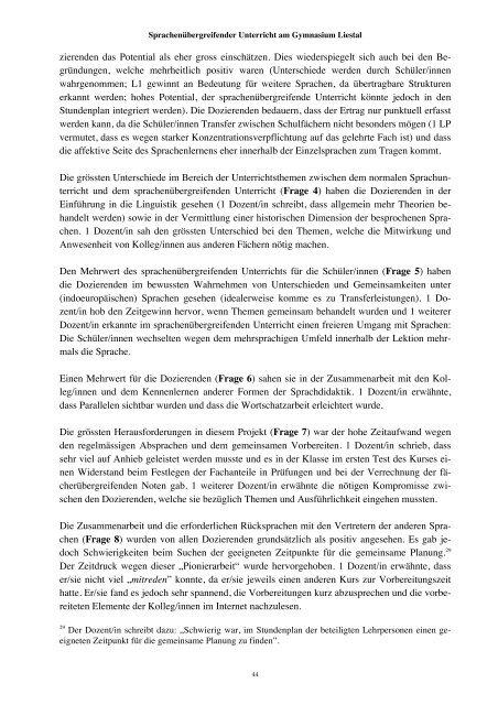 Bericht PH FHNW - Gymnasium Liestal
