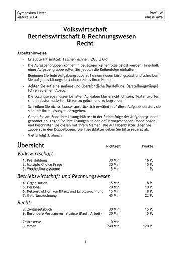 Matur Wirtschaft und Recht 4Wa 2004.pdf - Gymnasium Liestal
