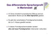 Das differenzierte Sprachenprofil in Marienstatt - Gymnasium ...