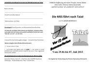 Ausschreibung Taize - Gymnasium Marienstatt
