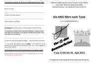 Ausschreibung Taize 2012 - Gymnasium Marienstatt