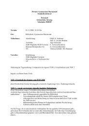 Protokoll Ordentliche Sitzung Schuljahr 2008/09 Termin
