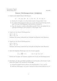 Lineare Gleichungssysteme (Aufgaben) - Gymnasium Pegnitz