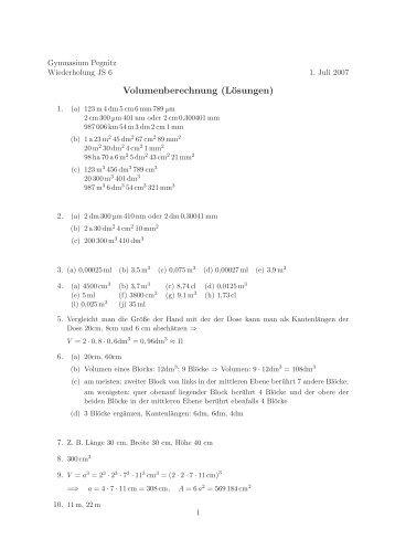 Volumenberechnung (Lösungen) - Gymnasium Pegnitz
