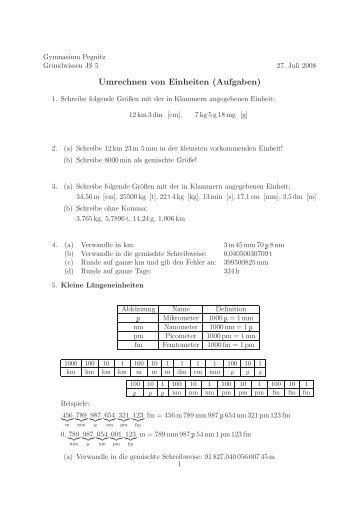 Erfreut Umwandlung Von Metrischen Einheiten Arbeitsblatt 5Klasse ...