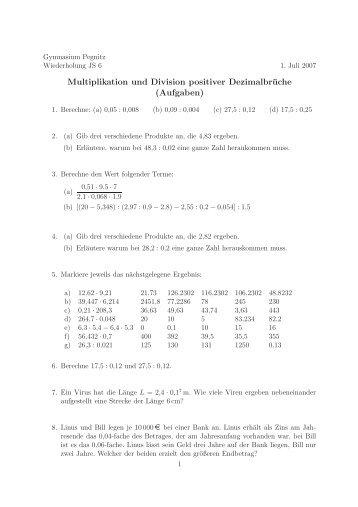 Multiplikation und Division positiver Dezimalbrüche (Aufgaben)