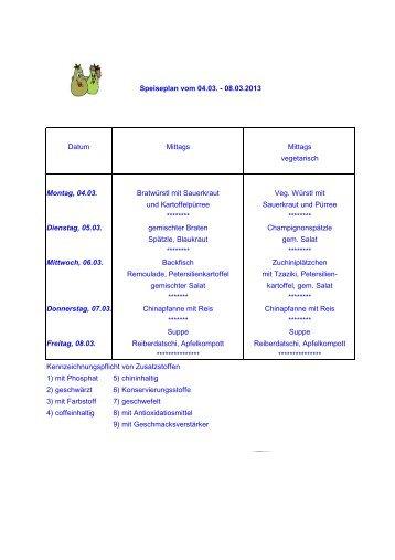 Speiseplan - Privat Gymnasium PINDL