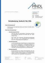 Hinweis Schulberatung - Privat Gymnasium PINDL