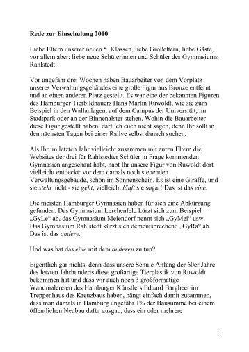 rede zur einschulung 2010 gymnasium rahlstedt - Begrungsrede Beispiele