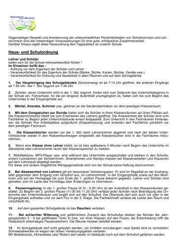 Haus- und Schulordnung - Gymnasium Warstein