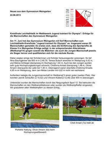 Neues aus dem Gymnasium Weingarten 22.06.2013 Kreisfinale ...