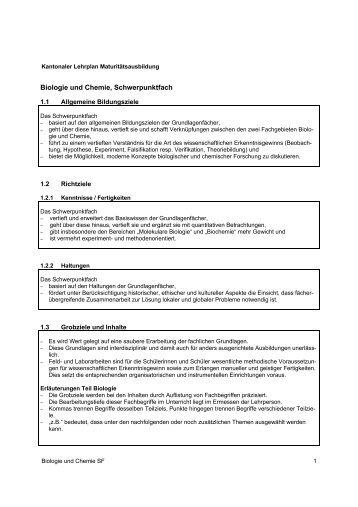Lehrplan des Schwerpunktfachs Biologie und Chemie
