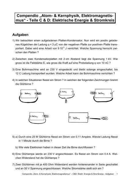 Elektromagnetismus - Elektr. Energie - Aufgaben