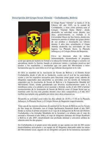 Descripción del Grupo Scout Alemán – Cochabamba, Bolivia